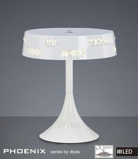 Diyas Lighting IL80002 - Phoenix Table Lamp 18 X 0.5W LED 3600K White/Crystal