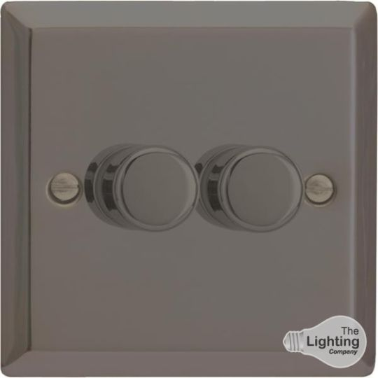 VARILIGHT Lighting - 2 GANG (DOUBLE), 1 OR 2 WAY 2X400 WATT DIMMER IRIDIUM BLACK - HI83