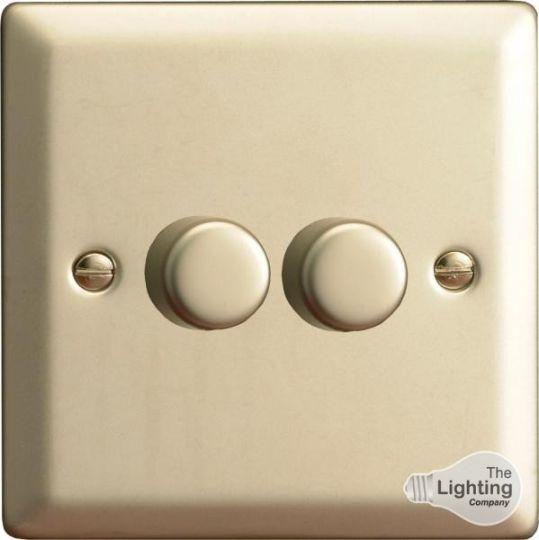 VARILIGHT Lighting - 2 GANG (DOUBLE), 1 OR 2 WAY 2X250 WATT DIMMER SATIN CHROME - HN4