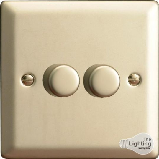 VARILIGHT Lighting - 2 GANG (DOUBLE), 1 OR 2 WAY 2X400 WATT DIMMER SATIN CHROME - HN83