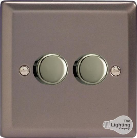 VARILIGHT Lighting - 2 GANG (DOUBLE), 1 OR 2 WAY 2X250 WATT DIMMER PEWTER - HR4