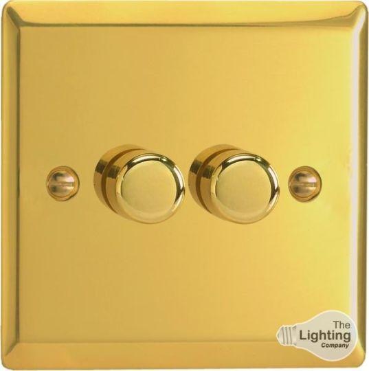 VARILIGHT Lighting - 2 GANG (DOUBLE), 1 OR 2 WAY 2X250 WATT DIMMER VICTORIAN POLISHED BRASS - HV4
