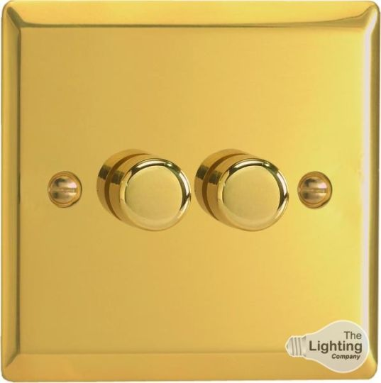 VARILIGHT Lighting - 2 GANG (DOUBLE), 1 OR 2 WAY 2X400 WATT DIMMER VICTORIAN POLISHED BRASS - HV83