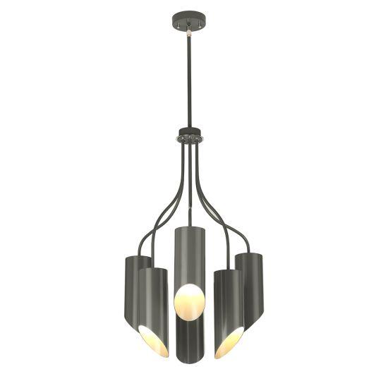 Elstead Lighting Quinto 6 Light Chandelier - Dark Grey Polished Nickel QUINTO6-GPN