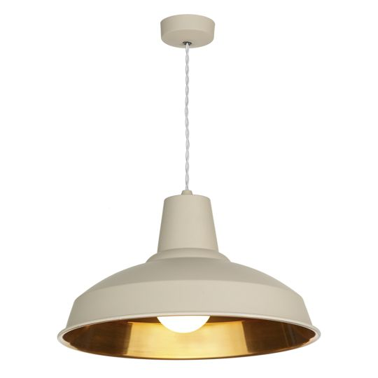 David Hunt Lighting REC0112 Reclamation 1 Light Pendant Cotswold Cream/Copper