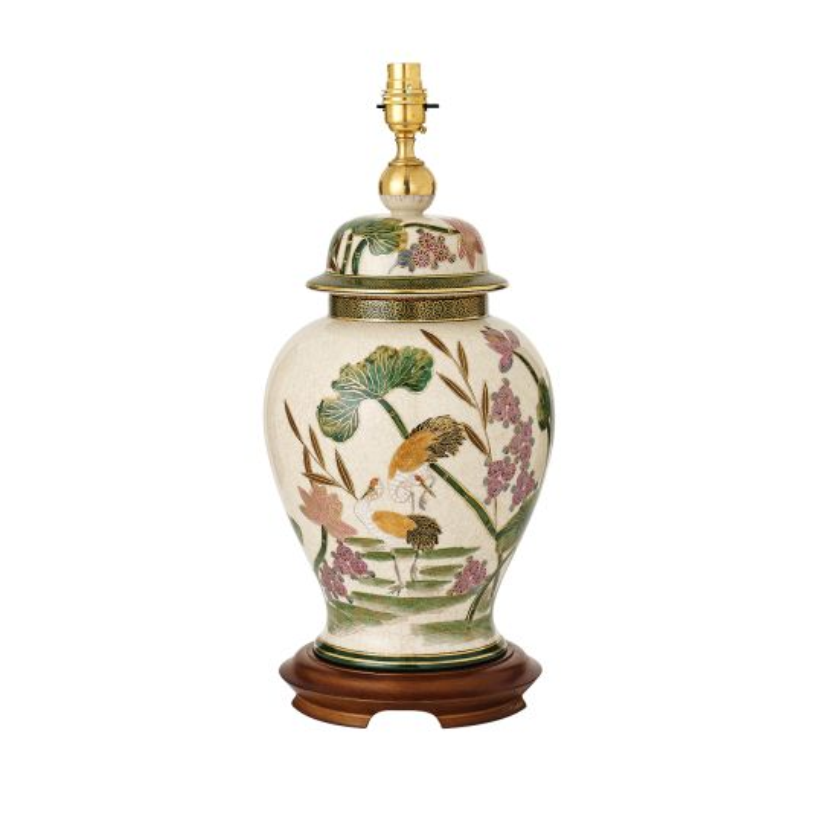 Interiors 1900 Hand Painted & Mahogany Wood Storks 1 Light Table RJ823