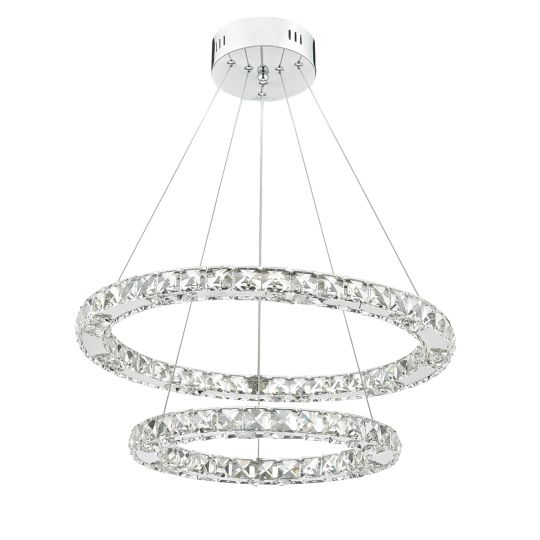 Dar Lighting Roma LED Pendant Crystal with Chrome Dimmable ROM2550
