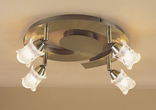 Mantra M0046AB Rosa Del Desierto Ceiling Spot Round 4 Light G9 With Adjustable Heads Antique Brass