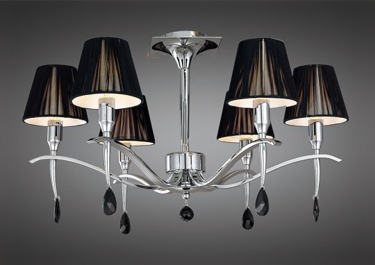 Mantra M0344 Siena Semi Ceiling Round 6 Light E14 Polished Chrome With Black Shades And Black Crystal
