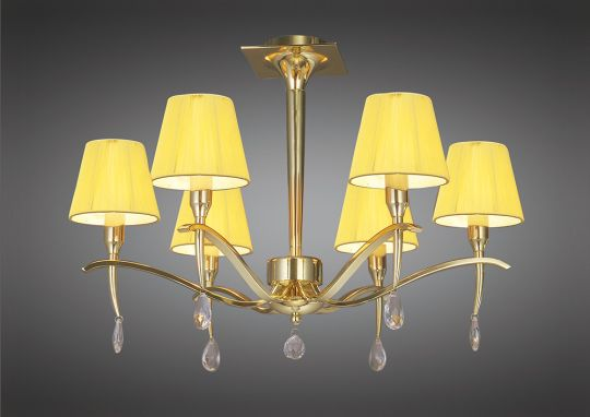 Mantra M0344PB Siena Semi Ceiling Round 6 Light E14 Polished Brass With Amber Cream Shades And Clear Crystal