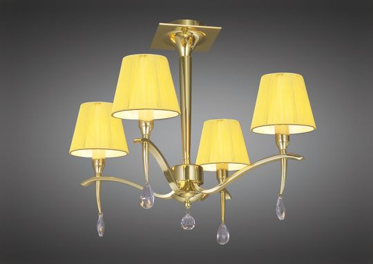 Mantra M0345PB Siena Semi Ceiling Round 4 Light E14 Polished Brass With Amber Cream Shades And Clear Crystal
