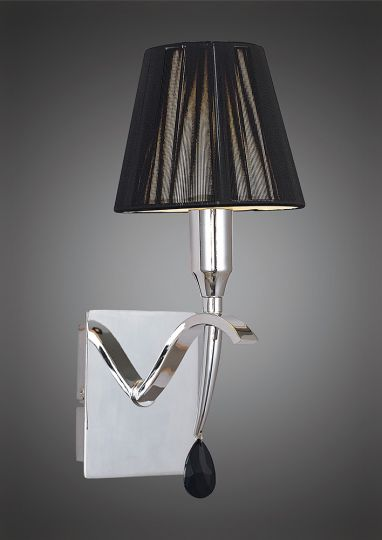 Mantra Lighting - Siena Switched Wall Lamp 1 Light Polished Chrome With Black Silk String Shade And Clear Crystal - M0347/S