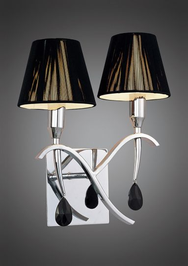 Mantra Lighting - Siena Switched Wall Lamp 2 Light Polished Chrome With Black Silk String Shade And Clear Crystal - M0348/S