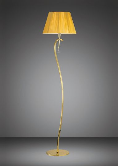 Mantra M0385PB Siena Floor Lamp 1 Light E27 Polished Brass With Amber Cream Shade And Clear Crystal