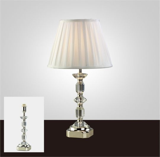 Diyas IL11002 Sora Crystal Table Lamp Without Shade 1 Light Silver Finish