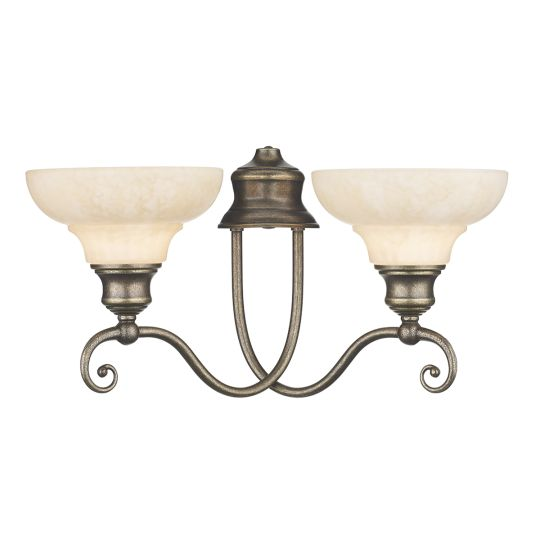 DAR Lighting - STRATFORD DOUBLE WALL BRACKET AGED BRA COMES WITH GLASS