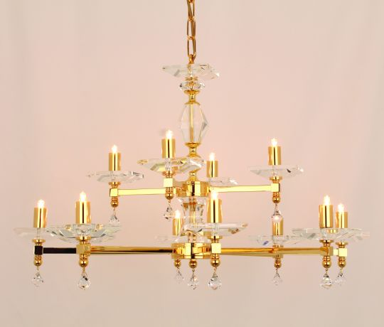 Impex STH04054/8+4/G Capri  Series Decorative 12 Light Gold Ceiling Light