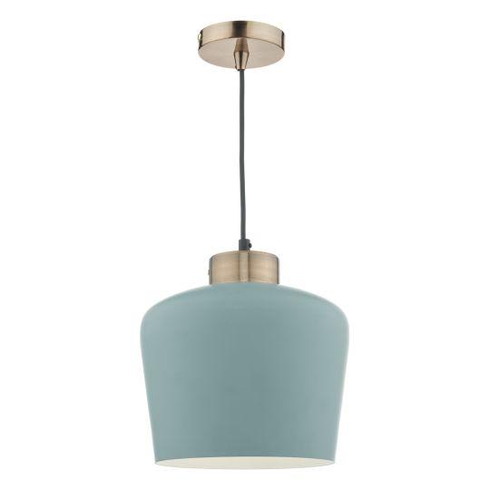 Dar Lighting Sullivan 1 Light Pendant Blue Grey/ Copper SUL0123