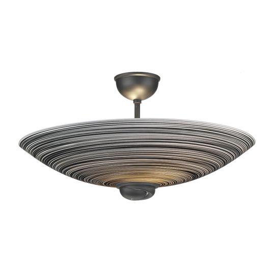 David Hunt Lighting SWF5822 Swirl Semi Flush Pendant Black complete with Black Glass FDL122