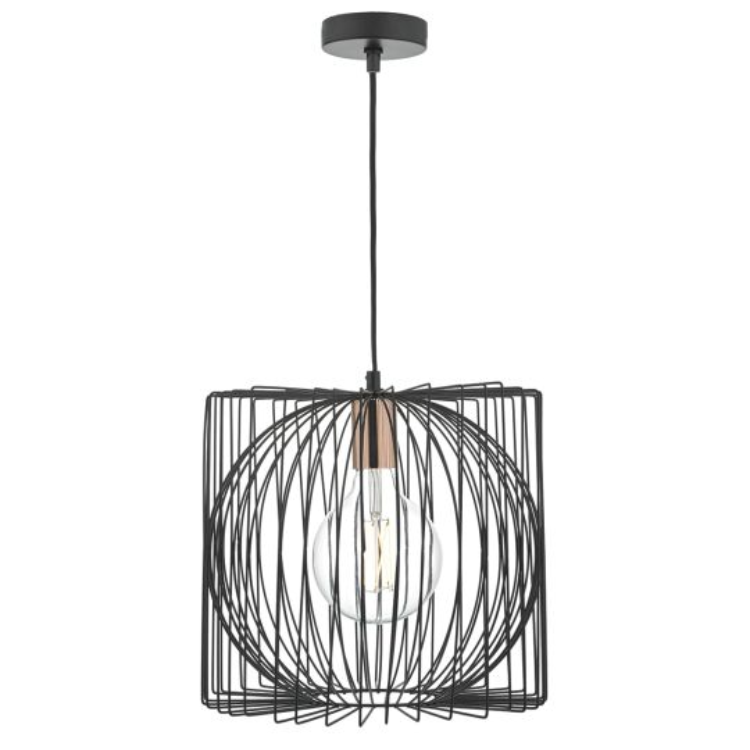 Dar Lighting Taplow 1lt Pendant Black & Copper TAP0122