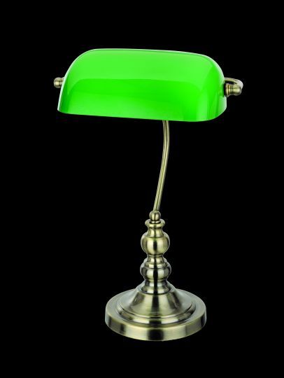Impex TB305101/GRN/AB Bankers Lamp Series Decorative 1 Light Antique Brass Table Lamp