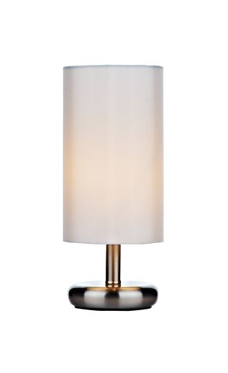 Dar Lighting TIC4133 - Tico Touch Table Lamp Satin Chrome complete with Cream Shade