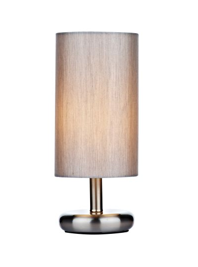 Dar Lighting TIC4139 - Tico Touch Table Lamp Satin Chrome complete with Grey Shade