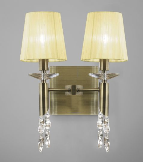 Mantra M3883/S Tiffany Wall Lamp Switched 2+2 Light E14+G9 Antique Brass With Cream Shades & Clear Crystal