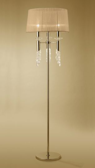 Mantra M3869FG Tiffany Floor Lamp 3+3 Light E27+G9 French Gold With Soft Bronze Shade & Clear Crystal