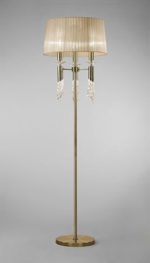 Mantra M3889 Tiffany Floor Lamp 3+3 Light E27+G9 Antique Brass With Soft Bronze Shade & Clear Crystal