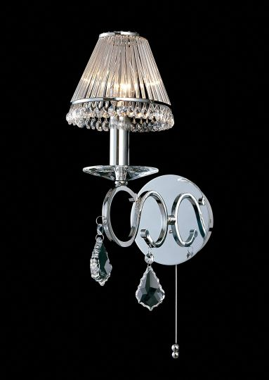 Diyas Lighting - Torino 1 Light Switched Wall Lamp Chrome/Crystal (Shades Not Included) - IL30311