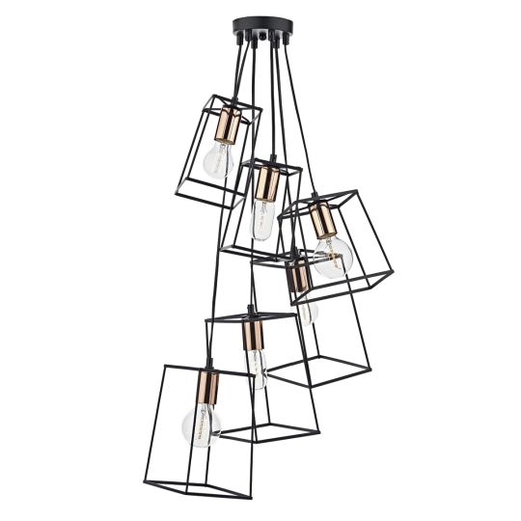 Dar Lighting Tower 6 Light Cluster Pendant Black TOW0622