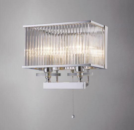 Diyas IL31410 Vanessa Wall Lamp Switched 2 Light Polished Chrome/Crystal