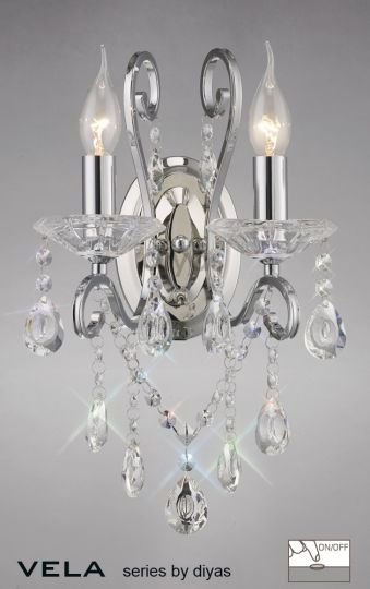 Diyas IL31362 Vela Wall Lamp Switched 2 Light Polished Chrome/Crystal