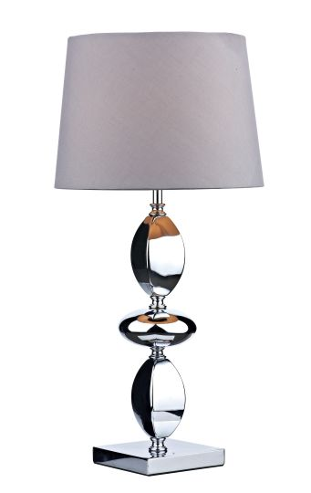 Dar Lighting WIC4250 - Wickford Table Lamp Large Polished Chrome complete with Shade