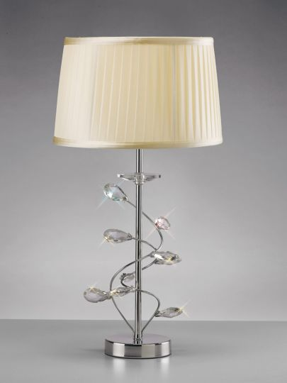 Diyas IL31210/CR Willow Table Lamp With Cream Shade 1 Light Polished Chrome/Crystal