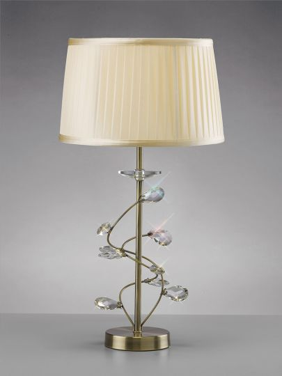 Diyas IL31220 Willow Table Lamp With Cream Shade 1 Light Antique Brass/Crystal