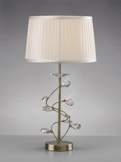 Diyas IL31220/WH Willow Table Lamp With White Shade 1 Light Antique Brass/Crystal