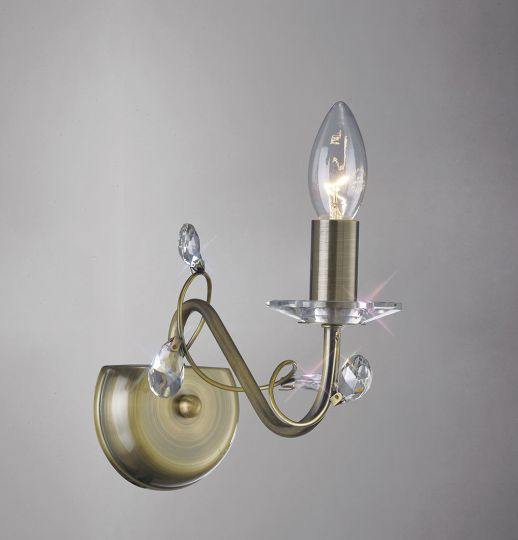 Diyas IL31221 Willow Wall Lamp Without Shade 1 Light Antique Brass/Crystal