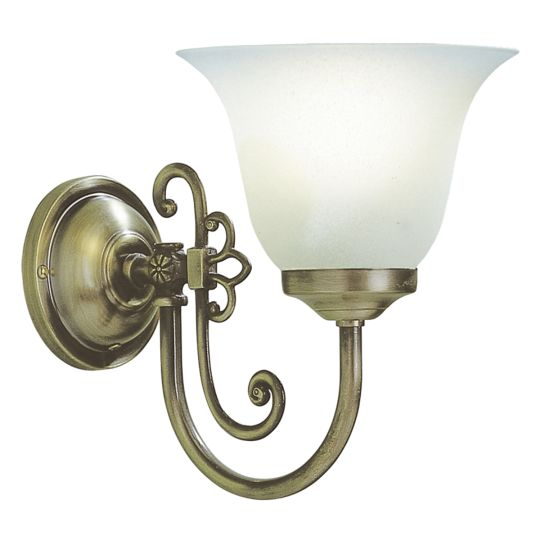 DAR Lighting - WOODSTOCK SINGLE WALL BRACKET ANTIQUE COMES WITH GLASS