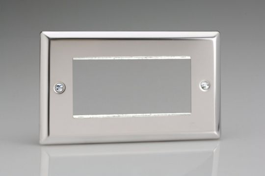 VARILIGHT Lighting - DOUBLE SIZE DATA GRID FACE PLATE FOR 3 OR 4 DATA MODULE WIDTHS POLISHED CHROME (DOUBLE PLATE) - XCG4