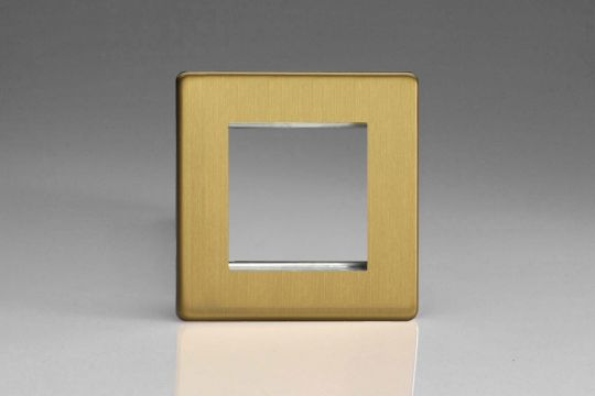 VARILIGHT Lighting - SINGLE SIZE DATA GRID FACE PLATE FOR 2 DATA MODULE WIDTHS DIMENSION SCREWLESS BRUSHED BRASS - XDBG2S