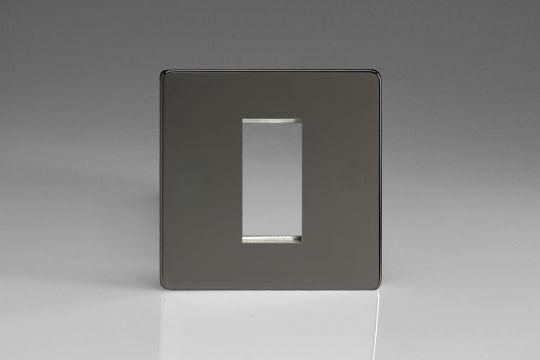VARILIGHT Lighting - SINGLE SIZE DATA GRID FACE PLATE FOR 1 DATA MODULE WIDTH DIMENSION SCREWLESS IRIDIUM BLACK - XDIG1S