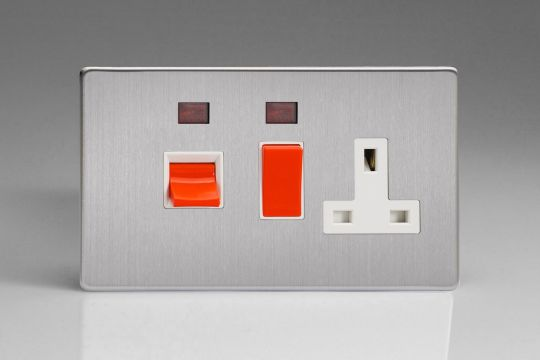 VARILIGHT Lighting - 45 AMP COOKER PANEL (WITH 13A SWITCHED SOCKET) (HORIZONTAL DOUBLE SIZE) AND WITH NEON (LED) DIMENSION SCREWLESS BRUSHED STEEL (AKA MATT CHROME) - XDS45PNWS