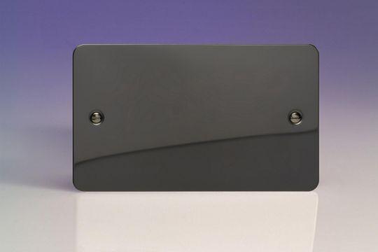 VARILIGHT Lighting - 2 GANG (DOUBLE), BLANK PLATE ULTRA FLAT IRIDIUM BLACK (DOUBLE PLATE) - XFIDB