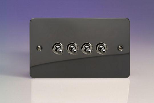 VARILIGHT Lighting - 4 GANG (QUAD), 1OR 2 WAY 10 AMP CLASSIC TOGGLE SWITCH ULTRA FLAT IRIDIUM BLACK (DOUBLE PLATE) - XFIT9