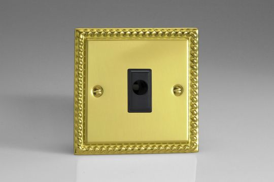 VARILIGHT Lighting - FLEX OUTLET PLATE WITH CABLE CLAMP. BLACK INSERT GEORGIAN POLISHED BRASS - XGFOB