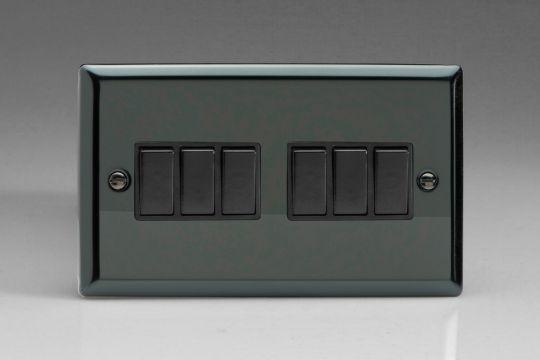 VARILIGHT Lighting - 6 GANG 1OR 2 WAY 10 AMP SWITCH IRIDIUM BLACK (DOUBLE PLATE) - XI96B