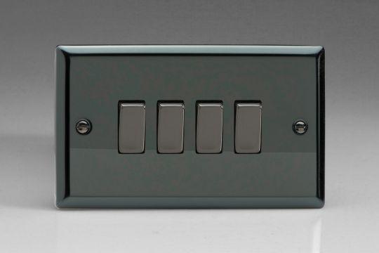 VARILIGHT Lighting - 4 GANG (QUAD), 1OR 2 WAY 10 AMP SWITCH IRIDIUM BLACK (DOUBLE PLATE) - XI9D