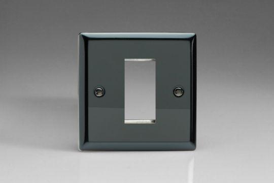 VARILIGHT Lighting - SINGLE SIZE DATA GRID FACE PLATE FOR 1 DATA MODULE WIDTH IRIDIUM BLACK FINISH - XIG1